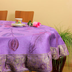 """Unique & DecorativeTablecloths - """"Amethyst"""" Beautifully painted by hand in India. 53"""" Round Tablecloth. Dupion Silk fabric. Great complement for the holidays."""