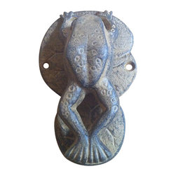 "AJcd-1335 - Cast Iron Antique Brown/Rust Frog Door Knocker - Cast iron antique brown/rust frog door knocker. Measures 5"" x 4"". No assembly required."