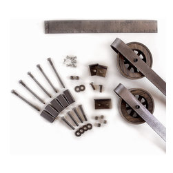 White Shanty - Rustic European Slide Steel Barn Wood Door Hardware Track Set, 6ft, 4 Roller - This is a beautiful rustic steel sliding barn door hardware set. Made in the USA by hand from high quality rugged buffed steel and wood. This beautiful set of hardware takes you back to the industrial time, all within your own home