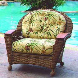 Spice Island Wicker - Aluminum Frame Wicker Lounge Chair (Nara Marsala Spun - All Weather) - Fabric: Nara Marsala Spun (All Weather)Include this striking lounge chair in your outdoor decor for enjoyment all year long.  Featuring all-weather wicker over superior aluminum construction, it�۪s accented with solid teak armrests.  Generously sized with rolled back for outstanding comfort.  Complements other pieces in this group.  The best way to do this is by buying a great chair such as this that is very attractive but also features an aluminum frame that will help maintain the style and beauty of your chair for years to come. * All Weather Wicker - Woven Vinyl over Aluminum frame. Stone Finish. Includes Cushion. Arms are solid teak. 33 in. W x 35 in. D x 38.5 in. H