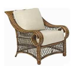 Woodard - Woodard Belmar Wicker Lounge Chair - Woodard's Belmar furniture is one of those collections where the more you use it the more you enjoy it. Its elegant easy maintenance styling and deeply opulent cushions invite you your family and guests to sit down take a deep breath and relax. The Belmar patio lounge set creates a conversation grouping all by itself and lucky you there are always additional furnishing options to add including a sumptuous wicker day bed gliding patio loveseat swivel lounge patio chair and so many more. Woodard's Belmar furniture is made from sturdy aluminum frames that are lovingly wrapped with hand woven All Seasons wicker to give you the big three: beauty style and outstanding durability. While you may have seen Belmar furniture at a posh country club somewhere it really wants to come home with you and spend the next several years spoiling your family with its exceptional comfort.The name Woodard Furniture has been synonymous with fine outdoor and patio furniture since the 1930s continuing the company�s furniture craftsmanship dating back over 140 years. Woodard began producing hand-made wrought iron furniture which led the company into cast and tubular aluminum furniture production over the years.� Most recently Woodard patio furniture launched its entry into the all-weather wicker furniture market with All Seasons which is expertly crafted and woven using synthetic wicker supported by an aluminum frame.� The company is widely known for durable beautiful designs that provide attractive and comfortable outdoor living environments.� Its hand-crafted technique used to create the intricate design patterns on its wrought iron furniture have been handed down from generation to generation -- a hallmark of quality unmatched in the furniture industry today. With deep seating slings and metal seating options in a variety of styles Woodard Furniture offers the designs you want with the quality you expect.  Woodard aluminum furniture is distinguished by the purest aluminum used in the manufacturing process resulting in an extremely strong durable product which still can be formed into flowing shapes and forms.� The company prides itself on the fusion of durability and beauty in its aluminum furniture offerings. Finishes on Woodard outdoor furniture items are attuned to traditional and modern design sensibilities. Nineteen standard frame finishes and nineteen premium finishes combined with more than 150 fabric options give consumers countless options to design their own dream outdoor space. Woodard is also the exclusive manufacturer of outdoor furnishings designed by Joe Ruggiero home decor TV personality.� The Ruggiero line includes wrought iron aluminum and all weather wicker designs possessing a modern aesthetic and fashion-forward styling inspired by traditional Woodard patio furniture designs. Rounding out Woodard�s offerings is a line of distinctive umbrellas umbrella bases and outdoor accessories.� These offerings are an integral part of creating a complete outdoor living environment and include outdoor lighting and wall mounted or free standing architectural elements � all made with Woodard�s unstinting attention to detail and all weather durability. Woodard outdoor furniture is an American company headquartered in Coppell Texas with a manufacturing facility in Owosso Michigan.� Its brands are known under the names of Woodard Woodard Landgrave and Woodard Lyon Shaw. With a variety of collections Woodard produces a wide array of collections that will be sure to suit any taste ranging from traditional to contemporary and add comfort and style to any outdoor living space. With designs materials and construction that far surpass the industry standards Woodard Patio Furniture creates beauty and durability that is unparalleled.  Features include Unique look of wicker furniture will add style and beauty to your outdoor setting Offered in wide variety of fabric options for cushions Super comfortable high quality cushions designed for extreme comfort Arm handles are offered for comfort and style Commercial Grade. Specifications Seat Height: 19.3 inches Arm Beginning: 24 inches Arm Middle: 25.5 inches.