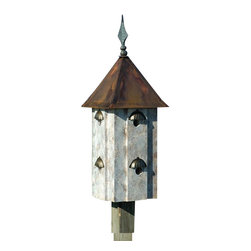 Heartwood - Avian Estates Bird House Old World Finish - This  exquisite  birdhouse  is  the  perfect  addition  to  any  home  or  garden  of  your  choice.  Eight  magnificent  compartments  each  with  its  own  stylish  shell  awning  set  against  Heartwood's  Olde  World  finish  and  topped  by  a  solid  copper  roof  and  cast  iron  finial  are  the  perfect  touches  to  this  piece.  This  bird  house  is  one  you  are  sure  to  enjoy  in  the  years  to  come.                  13x13x34              1-1/2  holes              Handcrafted  in  USA  from  renewable,  FSC  certified  wood