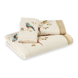 Avanti - Avanti Gilded Birds Bath Towel - Bath towels will add a lovely yet whimsical look to your bathroom. Colorful birds stand out against an ivory background.