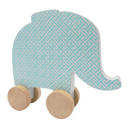 Studio BGD - Elephant Toy on Wheels - Made of MDF with real Oak Wood unpainted wheels, this item is pretty enough to sit on a shelf and safe and functional enough to entertain your little one.   With little hands in mind, the elephant was designed with a chunky-ness to make it easy to hold and move.  The tiny trellis print in Blue Jay is perfect for a modern nursery.