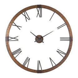 Carolyn Kinder - Carolyn Kinder Amarion Clock X-55660 - This oversized clock features hammered copper sheeting with a light gray wash and aged black details. Center hands movement is separate from the outside frame. Uses One AA Battery. Some assembly required.
