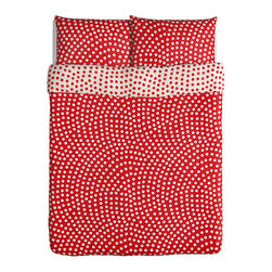 Stenklöver Duvet Cover and Pillowcases, White/Red - Polka dots are a sure way to bring some cheer to your white-walled dorm room.