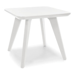 Loll Designs - Satellite End Square 18 Table, Cloud White - In the context of outdoor lounging, a Loll Satellite accent table is a recycled polyethylene object placed into orbit around humans resting in Loll Furniture. Unlike the moon, the Loll Satellite Table actually rotates in conjunction with the Earth and her inhabitants, at just over 1,000 miles per hour, but appears to be sitting still. We think it's time for you to have your very own Satellite... perfect for star gazing on black nights with warm breezes and cold drinks. All Loll Satellite Tables are made with heavy duty 1 inch thick poly and available in an assortment of colors, shapes and sizes.