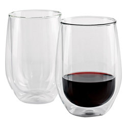 Wine Enthusiast - Wine Enthusiast Steady-Temp Double Wall Cabernet Stemless Wineglasses - Now you can serve your cabernet in these double-walled stemless glasses that blend good looks with functionality. Guests can hold these glasses for any length of time and their drinks will stay at the perfect drinking temperature. Made of mouth-blown, lead-free glass, they're also perfect for drinking hot coffee or tea.