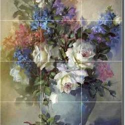 "Artwork On Tile - Taite Roses Floral Ceramic Tile Mural Backsplash 18"" x 24"" POV-FPT006 - * 18"" w x 24"" h x .25"" Ceramic Tile Mural on Architectural Grade, 6"" Tile w/Satin Finish"
