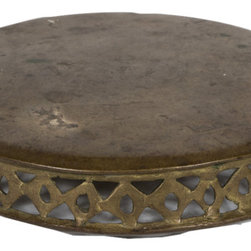Singh Imports - Consigned Antique Brass Chapati Board - This is a 19th century brass Chapati board from north India. Hard to find and one of a kind.