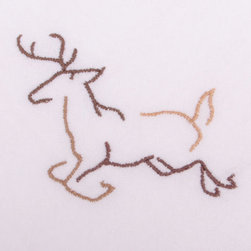 Running Deer Outline Flour Sack Dish Towel - The flour sack dish towel is 100% white cotton. The actual size 28 X 29 inches. The corner has custom embroidered running deer outline design.