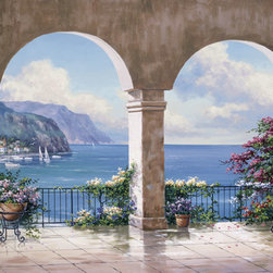 Murals Your Way - Mediterranean Arch Sans Foliage Wall Art - Arches frame a view of a Mediterranean seascape in this mural (similar to Mediterranean Arch but without hanging foliage)