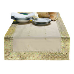 Indian Selections - Hand Crafted Gold Table Runner, 16 X 108 Inches - Fabric: Poly Art Silk Sari fabric