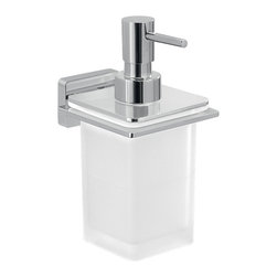 Gedy - Glass Soap Dispenser With Chrome Wall Mounted Holder - Wall mounted square soap dispenser is made of frosted glass.