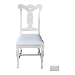 Cottage Home Collection - Cottage Style Side Chair, Dove - This cottage furniture side chair precisely combines comfort and style with a stylish design at its back. The key feature of this wonderful creation is its removable seat for COM. Quality hardwoods are used to make this cottage furniture piece to ensure durable performance.