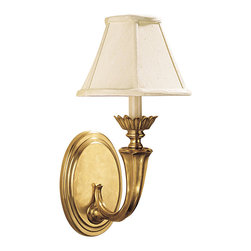 """Inviting Home - Solid Brass Wall Sconce - wall sconce; 8-1/2""""W x 10-1/2""""D x 17-1/4""""H; This one light electrified wall sconce is hand crafted from solid brass. Wall sconce is traditional in design and has round piped fabric shade. This solid brass wall sconce has an oval back plate and antiqued finish. This wall sconce is for candelabra bulb only. UL - approved hard-wire in dry location."""