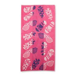Beach Towel 450GSM, 34 x 63 - Sunglasses and Flip Flops, Pink - Sunglasses and Flip Flops Beach Towels (Set of 2)100% Cotton