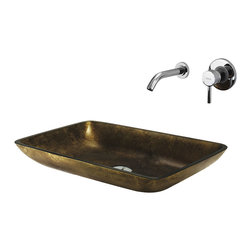 Vigo - Vigo Copper Glass Vessel Sink and Faucet Set - Make a bold statement with this uniquely rectangle in. Copperin.  Vigo glass vessel sink and faucet set. Durability, design and style put this set on another level