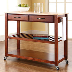 Crosley - Kitchen Cart - Constructed of solid hardwood and wood veneers, this mobile kitchen cart is designed for longevity. The handsome raised panel drawer fronts provide the ultimate in style to dress up any culinary space. Two deep drawers are great for holding essential items, such as utensils or storage containers. The adjustable/removable shelf is great for appliances. Remove the shelf completely to allow for storing larger objects. The heavy duty casters provide the ultimate in mobility. Style, function, and quality make this mobile solution a wise addition to your home. Features: -Solid natural wood top.-Adjustable and removable shelf.-Towel bar.-Heavy duty caster for mobility.-Product Type: Kitchen cart.-Counter Finish: Natural wood.-Hardware Finish (Frame Finish: Black): Brushed Nickel.-Hardware Finish (Frame Finish: Cherry): Antique Brass.-Hardware Finish (Frame Finish: White): Brushed Nickel.-Distressed: No.-Powder Coated Finish: No.-Gloss Finish: No.-Base Material: Hardwood and veneers.-Hardware Material: Steel.-Solid Wood Construction: No.-Exterior Shelves: Yes -Number of Exterior Shelves: 1.-Adjustable Exterior Shelving: No..-Drawers Included: Yes -Number of Drawers: 2.-Push Through Drawer: No.-Dovetail Joints: No.-Drawer Dividers: No.-Drawer Handle Design: Handle.-Silverware Tray : No..-Cabinets Included: No.-Towel Rack: Yes -Removable Towel Rack: No..-Pot Rack: No.-Spice Rack: No.-Cutting Board: No.-Drop Leaf: No.-Drain Groove: No.-Trash Bin Compartment: No.-Stools Included: No.-Casters: Yes -Locking Casters: No.-Removable Casters: No..-Wine Rack: No.-Stemware Rack: No.-Cart Handles: No.-Swatch Available: No.-Commercial Use: No.-Recycled Content: No.-Eco-Friendly: No.-Product Care: Use a soft clean cloth that will not scratch the surface when dusting. Use of furniture polish is not necessary. Should you choose to use a furniture polish, test in an inconspicuous area first. Use of solvents of any kind could damage your furniture's finish. To clean, 