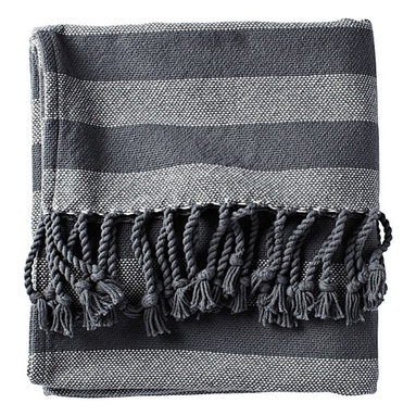 Graphite Awning Stripe Throw - I love the stripes on this throw. They're graphic but not jarring, and the color is masculine and cool enough for it to work in different seasons and decorating schemes.
