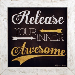 MyBarnwoodFrames - Release Your Inner Awesome Chalkboard Style Quote in Whitewash Wood - Framed Quote: Release Your Inner Awesome. This chalkboard-style print designed by Susan Ball is framed in a whitewashed wood frame. Frame is crafted from reclaimed wood. Perfect for a teen's bedroom, as a thank-you gift for a teacher or mentor, or just as fun wall decor in your own home. Sunny yellow and chalk white color tones.