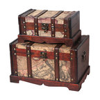 Old World Map Wooden Trunk Set of 2 - Our warm and welcoming steamer trunk brings back days of old time. Remember how excited you are when you were a little kid to look into your grandma's old chest, our decorative trunks will bring back those memories and help you create some new ones too. Our hope chest boxes are all handcrafted and tailored to enhance the existing decor of any room in the home. Great to use for your very own treasure chest!
