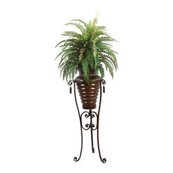 Laura Ashley - Laura Ashley 6 ft. Silk Boston Fern Plant w Metal Planter and Stand - Constructed from Plastic, polyester, foam, glue, wire, metal. Planter-Container Included. Assembly Required. Beautiful lifelike Boston fern in an ornamental planter with stand. No need to shop for a planter separately - comes complete with decorative planter. High quality artificial plant offers years of beauty with virtually no maintenance. Add life to your decor, place in a corner to soften edges and make a room more welcoming. Decorate your home or office. 31 in. L x 30 in. W x 72 in. H (12.65 lbs.)The Laura Ashley brand is known for quality and distinctive design, the mark of timeless beauty and relaxed living - and this lifelike plant fulfills those expectations. This Boston fern plant, in a contemporary floor stand, will instantly liven up your home or office decor - with no maintenance. It features full and frilly leaves that add elegant charm and classic beauty. And, there is no need to shop for a planter separately - the contemporary planter and stand pictured are included. Plants add a feeling of life to a room, making it warmer and more welcoming; artificial plants let you decorate without concern for water damage, trimming, or soil. This high quality fern is brought to you by Vintage Home - setting the standard in permanent botanicals, Vintage Home products bring you a richer and more realistic plant.