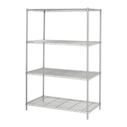 Safco - 24 in. Industrial Wire Shelving Starter Unit in Metallic Gray - Open shelving makes it easy for everyone to have access to the supplies needed. Whether in an office, workshop or garage, this four-shelf unit is perfect. The steel construction creates a sturdy unit while powder coat finish resists scratching and rusting. Four open wire shelves. Four posts. Snap-together clips. Prevents dust accumulation. Powder coated finish. Material Thickness: 10 ga. (shelf surface), 3 ga. (frame), 16 ga. (post), 6 ga. (wave pattern). Shelf adjusts in 1 in. increments. 800 lbs. evenly distributed shelf carrying capacity. 2500 lbs. evenly distributed overall carrying capacity. GREENGUARD Certified. Made from steel. Available in additional finish. 48 in. W x 24 in. D x 72 in. H (72 lbs.). Assembly InstructionGet wired! With Wire Shelving you're sure to get the storage space you need. These shelves are designed to get your office organized and keep it that way. Easily store office supplies, break room supplies, paper, marketing materials and other supplies so they are easy to find and incur no damage. Great for your supply room, storage area, mail room, warehouse, storage closet, garage area or even a classroom, assembly area or production area. Get storage where you need it, and always be able to find what you're looking for!