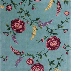 """Kas - Country & Floral Ruby 5'3""""x8' Rectangle Blue Area Rug - The Ruby area rug Collection offers an affordable assortment of Country & Floral stylings. Ruby features a blend of natural Blue color. Hand Tufted of 100% Wool the Ruby Collection is an intriguing compliment to any decor."""