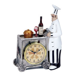 Benzara - Chef Wall Clock with Attractive Colors - Add a dash of color to your kitchen with this stylish and elaborately designed Chef W Clock 8 in. H, 5 in. W. This table clock flaunts a unique design and is lavished with attractive colors to instantly spruce simple kitchen or table settings. This well-designed table clock has an innovative shape which resembles a serving trolley. This trolley is intricately detailed with metallic finished wheels, a wine bottle, goblet and cloche. With a detailed figurine of a chef, this clock will make a wonderful addition to your kitchen decor and is sure to garner attention. This elaborately detailed clock can also be used to adorn the dining area and lend a vivacious, personalized touch to interiors. Made from high grade polystone material, this table clock is sure to enhance the decor of your table for years to come..
