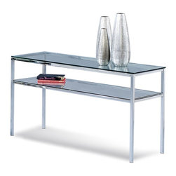 """Bassett Mirror Co - Bassett Mirror Co T1792-590EC Patinoire Entertainment Console - Bassett Mirror's Patinoire offers modern elegance and quality craftsmanship to deliver excellent value. The cocktail table offers a fully castered nesting table providing utility without consuming space. Tinted 3/8"""" thick glass tops float above triple plated chrome bases giving Patinoire it's distinctively sleek, modern style."""