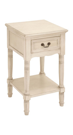 ecWorld - Urban Designs Solid Wood Night Stand Table - Antiqued White - Inspired by late 18th-century French furnishings this nightstand captures the linearity, square shapes and painted finishes associated with that period. Crafted of solid hardwood, each piece is carefully distressed using a hand-applied multi-step process to achieve the look of a weathered antique.