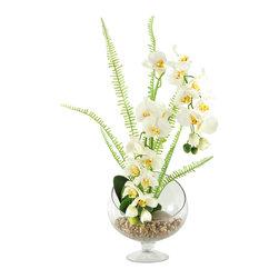 D&W Silks - D&W Silks Cream Weeping Phaeleanopsis Orchids In Open Sphere Pedestal Glass - Cream weeping Phaeleanopsis orchids in open sphere pedestal glass
