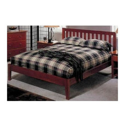 Alpine Furniture - Portola Platform Bed (Full) - Choose Bed Size: FullCountry style. Six months warranty. Made from select solids and veneer. Light cherry finish. Made in Indonesia. Full: 77.75 in. L x 55.75 in. W x 40 in.. Queen: 83.5 in. L x 62.75 in. W x 40 in.A slatted headboard adds warmth and charm to this classic platform bed, a lovely way to bring a country spirit to your home's decor. Perfect for a farmhouse master bedroom or a cottage in the woods.