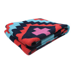 X Spot Throw Blanket - The X Spot Throw Blanket adds a warm and comfy look to any room. Made from 80% recycled cotton and 20% acrylic, it feels super soft and is versatile enough to drape over the sofa or bed's end. The throw's geometric design and colors make any room feel rich and stylish.