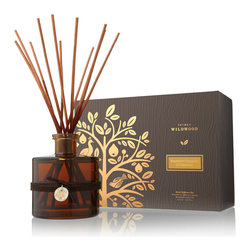 Brandied Pumpkin & Chestnut Reed Diffuser - 7.75 oz - As soon as you open the translucent cognac-colored glass bottle of the Brandied Pumpkin and Chestnut Reed Diffuser and set the bouquet of rattan reeds in its mouth, the aroma of fresh, ripe autumn plants preserved in brandy and sugar mingles with the heartwarming scent of fresh-cut hardwood in the air.  Spicy, deep, and illustrative of traditional festivities, this is a warm home fragrance for year-round use.