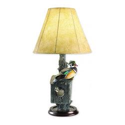 "Loon Lake Decoy Company - Loon Lake Nesting Wood Duck Lamp - 18"" Dia. Shade x 10"" Base x 31"" Tall, Resin"