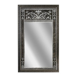 "Head West - ""Head West Home Trumeau Mirror 23"""" x 39"""""" - ""The Canterbury Tremeau mirror, is a classic, elegant addition to your formal room or setting. ""Tremeau"" is the word used to describe a mirror having a painted or carved panel above or below the glass in the same frame. This traditional French Scroll version is a back-screen printed design, which after silvering, reflects tones of gold, bronze and amber.Product Measures: 23"" width x 39"" length x 1"" depth  Manufactured in: Assembled in USA of imported components  Manufactured by Head WestDimensions: 23″ x 1″ x 39″.   Weight: 20.9lbs."""