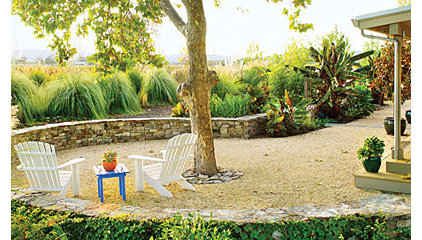 Lawn-free, low-water landscaping