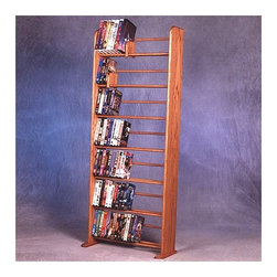 "Wood Shed - 700 Series 280 DVD Dowel Multimedia Storage Rack - This rack is truly a fine piece of furniture that will enhance your decor while providing easy access storage. This product looks great as it is solid wood and does not have any screws. Features: -Holds 385 CD's or 280 DVD's.-Distressed: No.-Collection: 700 Series.-Country of Manufacture: United States.-Commercial Use: Yes.-Material: Solid oak.-Solid Wood Construction : Yes.-Number of Items Included: 5 items: 1 rack, 2 feet & 2 sliders.-Scratch Resistant: Yes.-Heat Resistant: No.-Stain Resistant: Yes.-Drawers Included: No.-Exterior Shelves Included: Yes -Adjustable Exterior Shelves: No..-Cabinets Included: No.-Recycled Content: No.-Eco-Friendly: No.-Storage Capacity: 385 CD's or 280 DVD's.-Wall Mountable: No.Specifications: -ISTA 3A Certified: No.Dimensions: -Overall Height - Top to Bottom: 61.5"".-Overall Width - Side to Side: 24.25"".-Overall Depth - Front to Back: 7.25"".-Drawer: No.-Shelving: -Shelf Height - Top to Bottom: 7.75"".-Shelf Width - Side to Side: 22.75"".-Shelf Depth - Front to Back: 6""..-Overall Product Weight: 32 lbs.Assembly: -Assembly Required: No.Warranty: -Product Warranty: 6 months."