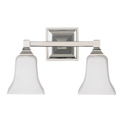 Murray Feiss - Murray Feiss American Foursquare Transitional Wall Sconce X-NP-20421SV - Clean lines give a modern, updated feel to the traditional style of this Murray Feiss wall sconce. From the American Foursquare Collection, it features two traditional bell shaped shades made from a clean opal etched glass. The look is completed with a crisp Polished Nickel finish.