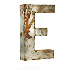 "Kathy Kuo Home - Industrial Rustic Metal Small Letter E 18""H - Create a verbal statement!  Made from salvaged metal and distressed by hand for an imperfect, time-worn look."