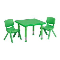 Flash Furniture - Flash Furniture 24 Inch Square Adjustable Green Plastic Activity Table Set - This table set is excellent for early childhood development. Primary colors make learning and play time exciting when several colors are arranged in the classroom. The durable table features a plastic top with steel welding underneath along with height adjustable legs. The chair has been properly designed to fit young children to develop proper sitting habits that will last a lifetime. [YU-YCX-0023-2-SQR-TBL-GREEN-R-GG]