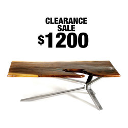 SALE - The Cantilever Coffee Table - The Cantilever Coffee Table is made from solid steel construction and gorgeous live edge Walnut that was locally sourced from Northern California.