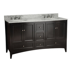 "Foremost - Foremost BECA6021D Espresso Berkshire Berkshire Bathroom Vanity 60"" - Product Features:This model is a cabinet / base only - vanity top and sink are not includedConstructed of hardwood providing durability and aesthetic appealVanity features 5 full extension drawers providing ample concealed storage space – drawers operate on smooth ball-bearing glidesFeatures 2 full-sized cabinets with matching doors providing ample storage spaceVanity is crated and shipped fully assembledSolid construction and assembly provides years of reliable performanceProduct Specifications:Overall Height: 34"" (measured from ground level to highest point on vanity)Overall Width: 60"" (measured from left most to right most part on vanity)Overall Depth: 21-3/4"" (measured from back most to front most part on vanity)Mounting Style: FreestandingNumber of Drawers: 5Number of Doors: 4Number of Shelves: 0Configuration: Vanity base only - top and sink will need to be ordered separately"
