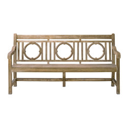 Currey & Co - Currey & Co 2722 Leagrave Portland Bench - The Currey & Co 2722 Leagrave Portland Bench has a very smooth Portland finish and looks like wood, but it is actually made of concrete. This bench truly makes a big statement with the intricate details of the craftsmanship along with its substantial size. This bench is perfect for outdoor use, as it will not weather like wood can over time.