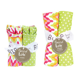 """Trend Lab - Bouquet Set - Savannah - Bib & Burp Cloth - Keep messes to a minimum with this stylish Savannah Bib and Burp Cloth Set by Trend Lab. Set includes four bibs and four burp cloths each with fun, modern prints on the front and terry on the back. Bib and burp cloth patterns include: one vibrant chevron print in paradise and petal pink, tiger orange, chartreuse green, and white; one chartreuse green and white mini dot print; one white and chartreuse green lattice print; and one variegated stripe print in paradise and petal pink, tiger orange, chartreuse green, and white. Each bib measures 9"""" x 12"""" with Velcro closure and each burp cloth measures 13"""" x 10"""". Bib and Burp Cloth Set coordinates with the Savannah collection by Trend Lab."""