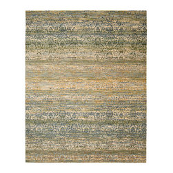 """Nourison - Nourison Rhapsody RH003 8'6"""" x 11'6"""" Beige Blue Area Rug 18716 - Pure elegance is woven into every inch of this intriguing rug. Delicate floral shapes of Persian origin are enmeshed in a netting of delicate lines that seem to float on a surface of ethereal blues, yellows and greens, with rich accents of indigo defining the design."""