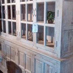 Rustic White Distressed China Hutch -