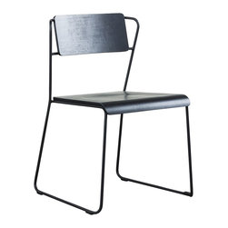 Transit Black Dining Chair - This chair's sleek combination of wood and metal looks nothing but industrial. I love the sleek black finish and the ultra-slim lines.